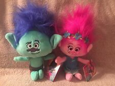 "DREAMWORKS TROLLS POPPY & BRANCH 12"" HUG N PLUSH DOLL SET NWT"