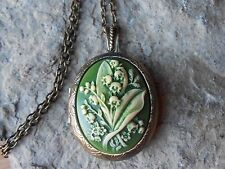 LILY OF THE VALLEY HAND PAINTED GREEN CAMEO LOCKET-ANTIQUE BRONZE, VINTAGE LOOK