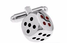 Quality 3D Dice Cufflinks silver Colour Cuff links tie clip Casino Backgammon