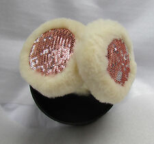 NEW UGG Earmuffs Wired Tech Pink Sequin with Sand Sheepkin Shearling