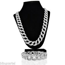 "Sand Blast Cuban Chain Silver Tone 30"" x 18MM Hip Hop Necklace 8.5"" Bracelet Set"