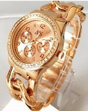 Ladies Rose Gold Wrist Watch New Diamante Metal Strap Luxury Designer Dressy