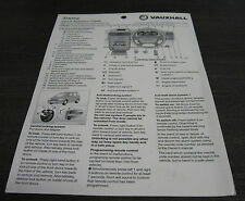 Vauxhall Sintra Quick Reference Guide Stand September 1997