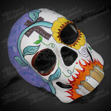 Mens Day of the Dead Full Face Skull Sunflower Eye Halloween Masquerade Mask