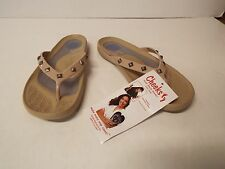 Tony Little Cheeks Healthy Lifestyle Sandal-Studded Thong-NATURAL-Size 6-NWT
