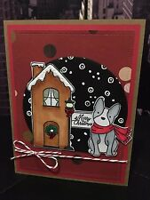 "Avery Elle ""Merry Christmas"" Holiday Dog Winter Handmade Card"