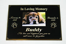 "PET MEMORIAL 5""X7"" BRASS CUSTOM ENGRAVED PLAQUE WITH YOUR PICTURE DOG CAT BIRD"