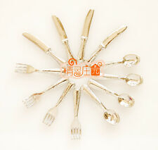 Dolls House Miniature 1:12 Scale Dining Room Tableware Metal Silver Cutlery Set
