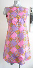 VINTAGE 60S ICONIC PINK PSYCHEDELIC CHECK SILKY HIPPY CARNABY MOD MINI DRESS 12