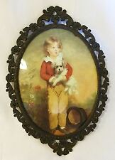 Vintage oval ornate brass picture frame Italy boy with dog print