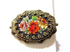 VINTAGE VERY OLD BLACK AND FLOWERS INTRICATE MICROMOSAIC MICRO MOSAIC PIN BROOCH