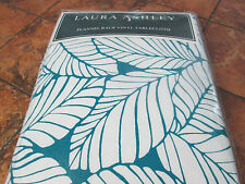 "Laura Ashley-Palm Leaf-Vinyl flannel back tablecloth--White/Teal--52"" x 70""--New"