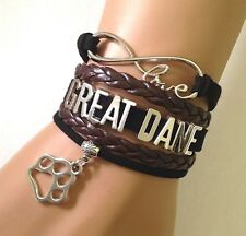 Love Great Dane Infinity Bracelet Jewelry Dog Paw Charm Dog Breed Pup US Seller