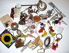 VINTAGE ANTIQUE JUNK DRAWER LOT TOYS JEWELRY CHARMS LOOK