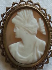 Gilt metal & carved shell cameo vintage Victorian antique brooch