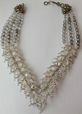 VINTAGE SIGNED COPPOLA E. TOPPO 3 STRAND SILVER AB GLASS BEAD NECKLACE
