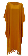 NEW SIMPLE PLAIN GOLD KAFTAN CAFTAN LONG HIPPIE MEGA DRESS PLUS SIZE 34 36 38