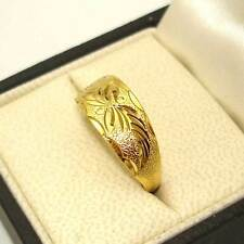 18K Yellow Gold Filled Men/Women Carved Ring Adjust Wedding Band 8MM GF Jewelry