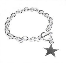 Star Charm Toggle Link Solid Sterling Silver Bracelet 8""