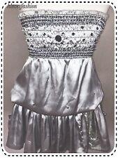 ✨��Silver Grey Satin Embellished Sparkle Dress UK 10 EU 38 US 6 FAST����✨