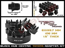 """Complete Kit - 4Pc Toyota 1.5"""" Black Hub Centric Wheel Spacers 6x5.5"""" Or 6x139.7"""