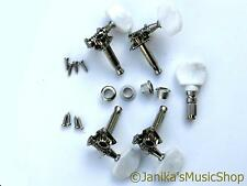 Set of machine heads for 5 string banjo 4 geared 1 friction tuners tuning pegs