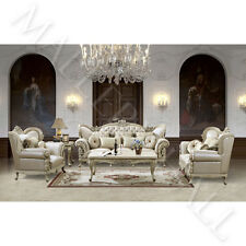 French Provincial Carved White Tufted Leather Upholstered 3 Pc Sofa Set