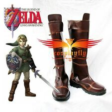 New The Legend of Zelda Link Anime Brown Costume Shoes Cosplay Boots Custom Made