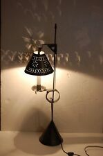 primitive folk art tin punch lamp light w hanging candlestick shade hart base