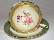 ANTIQUE Vtg AYNSLEY ENGLISH ROSE BONE CHINA TEA CUP & SAUCER SET  HEAVY GOLD
