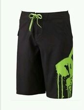 NWT DC Shoes Mens Board Shorts Black Neon Green Size 30 NEW Bathing Suit