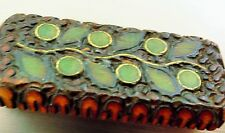 Beautiful carved wood Inlay   brooch pin    tr