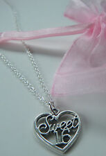 Sweet 16 Charm Pendant Necklace 16th Birthday Gift in Organza Gift Bag  FREEPOST