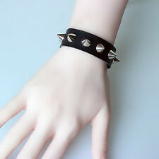 Unisex Women Punk Bracelet Silver Spike Rivet Cone Black Leather Cuff Wristband