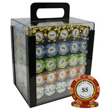 1000 14G MONTE CARLO POKER CHIPS SET ACRYLIC CASE 3TONE NEW