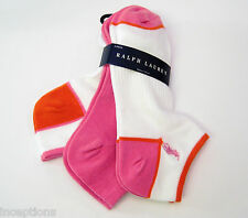 3 Pr Ralph Lauren Ladies Socks Sport Golf Heel Toe Mesh White Pink Orange - NEW