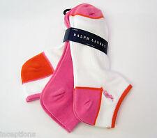 3 Pr Ralph Lauren Ladies Socks Sport Golf Heel Toe Mesh White Pink Orange - NEW