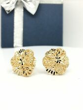 18k solid yellow gold 3 pedals diamond cut flower earrings 3.6 grams