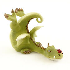 Miniature Green Dragon Playing with Ladybug  4536 Fairy Garden Figurine