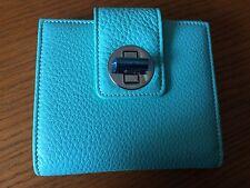 NIB Tiffany &Co. FRENCH wallet Turn-lock tab Blue Grain leather $400