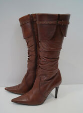 MODA IN PELLE Brown Leather Studded Buckle & Ruched Detail Stiletto Boots EU38