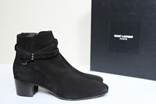 New sz 10.5 / 40.5 Saint Laurent Blake Black Suede Ankle Bootie Low Heel Shoes