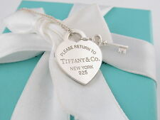 Authentic Tiffany & Co Silver Heart Key Return To Tiffany Necklace Packaging