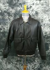 Mens L Jacket type A-2 flyers brown leather army airforce jacket