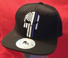 Punisher Blue Line Hat USA Flag Baseball Cap Black Hat Black Flat Bill Snapback