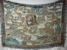 USA Made NWOT Wildlife Reserve Map Tapestry Throw Blanket Afghan #548