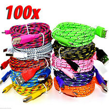 LOT 100x Micro USB Charger Sync Data Cable Nylon Braided for android cell phones