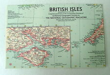 VINTAGE NATIONAL GEOGRAPHIC MAP OF THE BRITISH ISLES JULY 1958