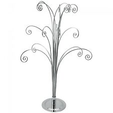 "18"" SILVER Counter top Ornament Jewelry Display Tree holds 15 items"