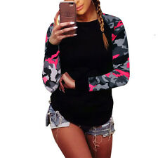 Fashion Women Camouflage Long Sleeve Tops Shirt Ladies Loose T-shirt Blouse Top